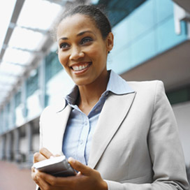 Woman with Smart Phone Merchant Services